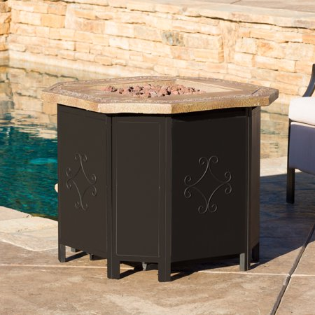Riley 30-inch Copper Octagonal Magnesium Oxide Gas Fire Pit- 40,000