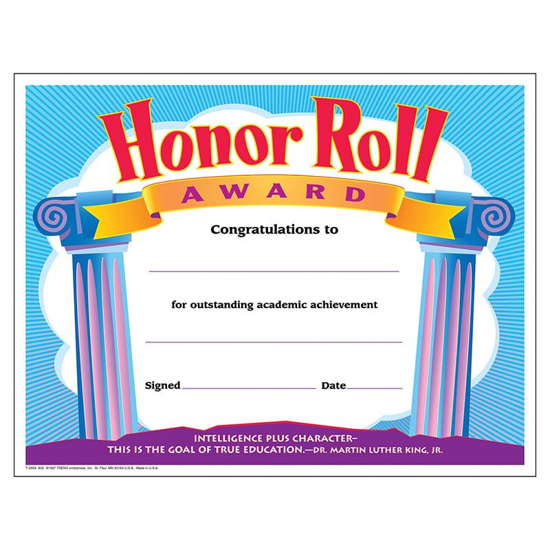 (6 Pk) Certificate Honor Roll Award 30 Per Pk 8.5X11