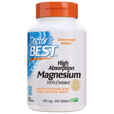 Doctor's Best High Absorption Magnesium Tablets, 100 Mg, 240 (Best Magnesium For Muscle Cramps)