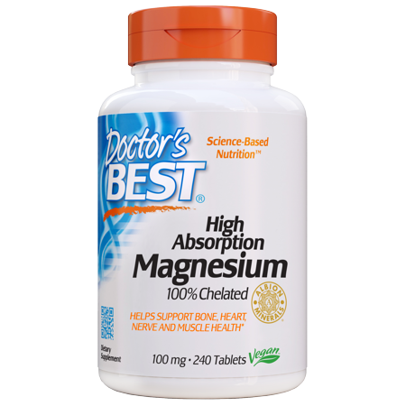 Doctor's Best High Absorption Magnesium Tablets, 100 Mg, 240 (Best Magnesium For Heart Health)