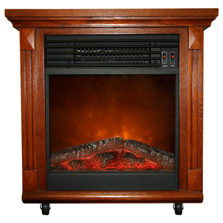 Compact Cherry Oak Electric Fireplace With Caster Wheels
