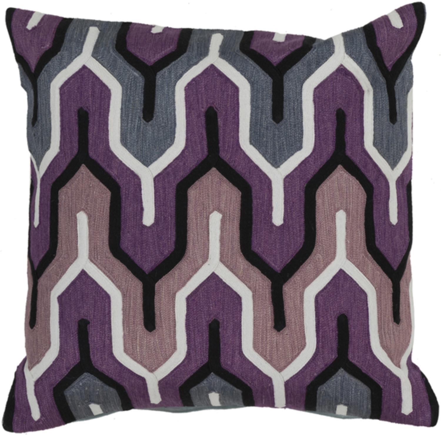 "22"" Belvedere Stripes Purple, Gray and Black Decorative Square Throw Pillow Down Filler by Diva At Home"