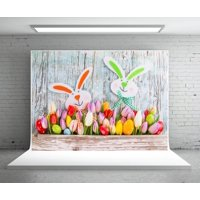 MOHome Polyster 7x5ft Easter Rabbit Photography Backdrop Wood Wall Background Studio Photo Booth Prop Flowers Eggs for Easter Decoration