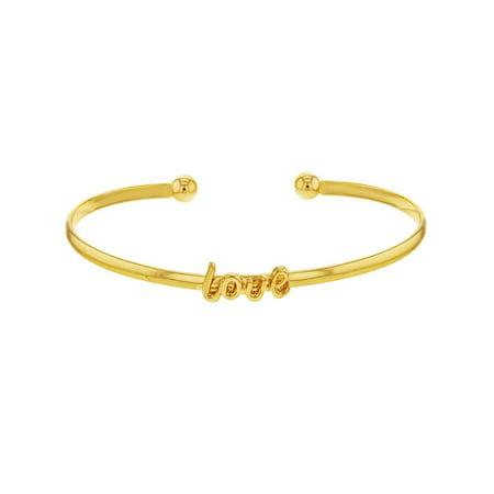 18k Gold Plated Valentines Thin Love Cuff Bracelet Girls Ladies Cuff Gold Plated Bracelet