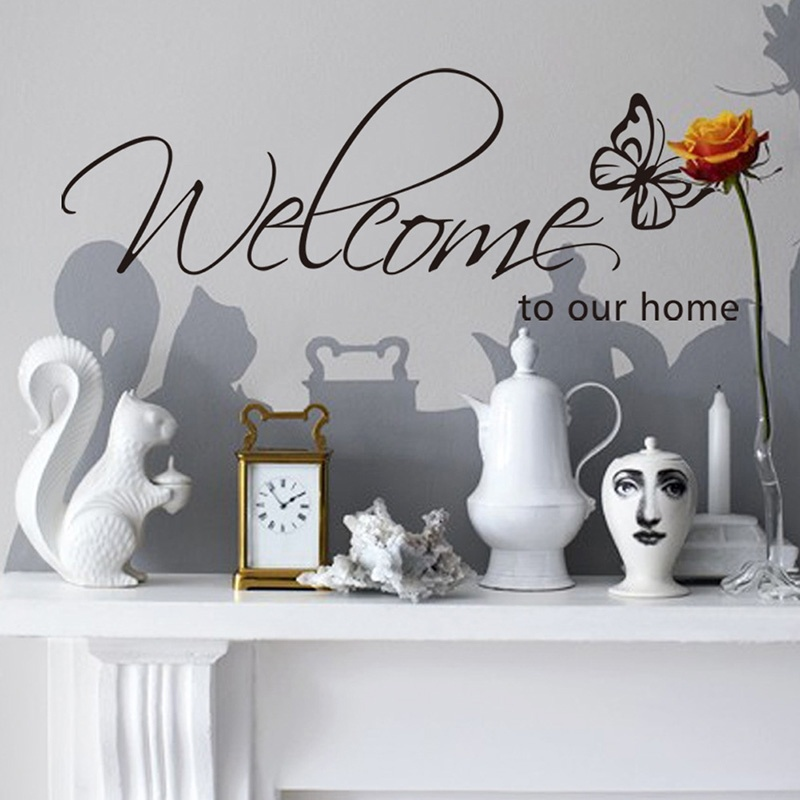 Outgeek Wall Stickers Butterfly Wall Decals Creative Personal Welcome To Our Home Stickers Removable Decorative Wall Art Decal Decoration for Living Room TV Background Bedroom Home Dorm Wall Decor