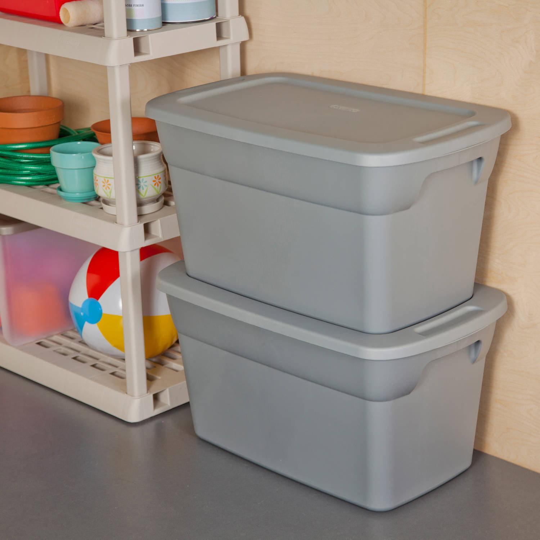 Sterilite 30 Gallon Tote Box- Steel (Available in Case of 6 or Single Unit)