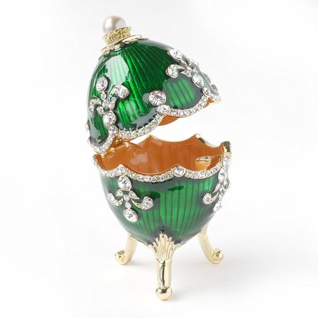 Hand- Painted Classic Vintage Style Faberge Egg with Rich Enamel and Sparkling Rhinestones Jewelry Trinket Box (Green)