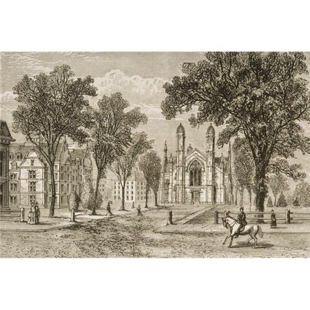 Gore Hall At Harvard College Cambridge Massachusetts In 1870S From American Poster Print, Large - 34 x 22 (Gore Hall)