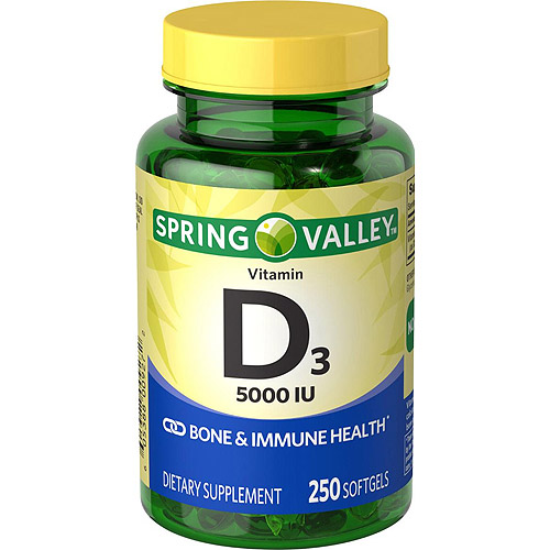 Spring Valley Vitamin D3 Supplement Softgels, 5000 IU, 250 count