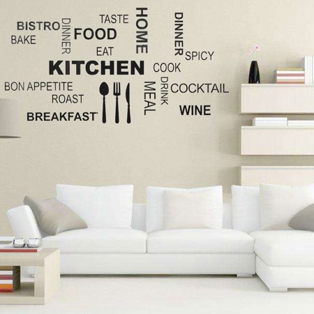 PVC Wall Sticker Black KitchenEnglish Words Vinyl Art Decal Dining Room Decoration Removable,Wall Decal, Home Wall Sticker
