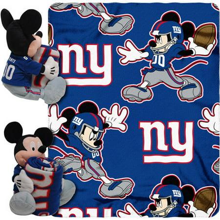 "New York Giants Mickey Mouse Uniform Hugger & 40"" x 50"" Plush Blanket"