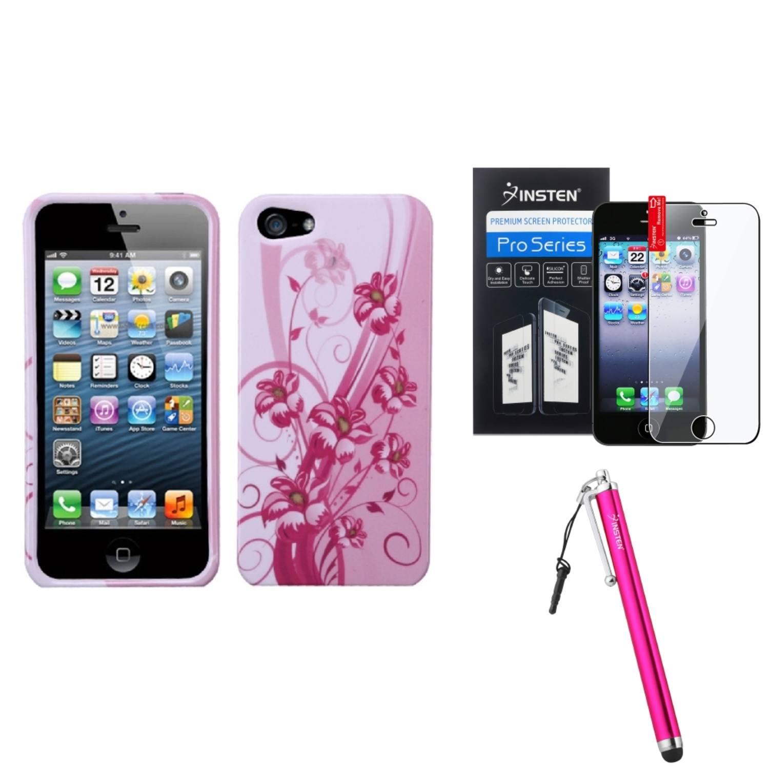 Insten Blooming Lily Case For iPhone SE 5 / 5s   Stylus   Screen Protector