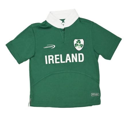 Lansdowne Green Ireland Shamrock Performance Short Sleeve Kids Rugby Shirt