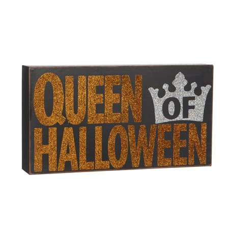 Queen of Halloween Sign: 9 x 4.88 inches - Halloween Sign Offs
