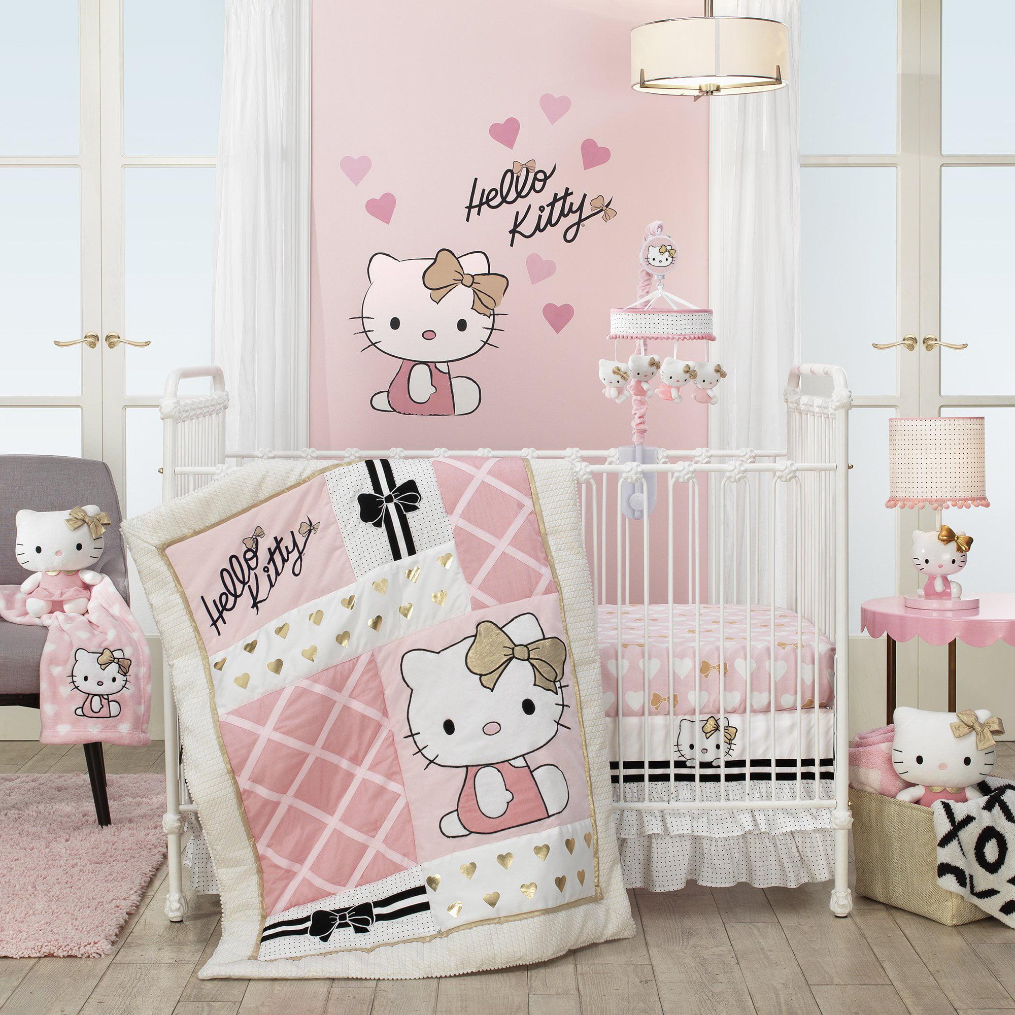 Lambs Ivy Hello Kitty 3 Piece Crib Bedding Set Pink Gold White