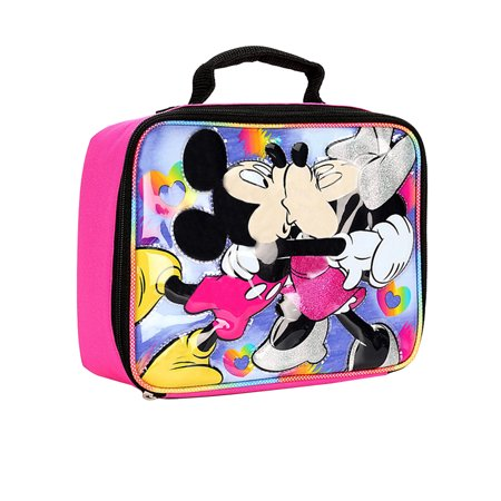 ae5b743c586c Girls Minnie and Mickey Mouse Hugging Insulated Lunch Bag Pink