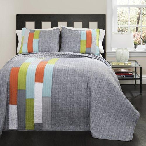 Shelly Stripe Orange/Blue Bedding Quilt Set