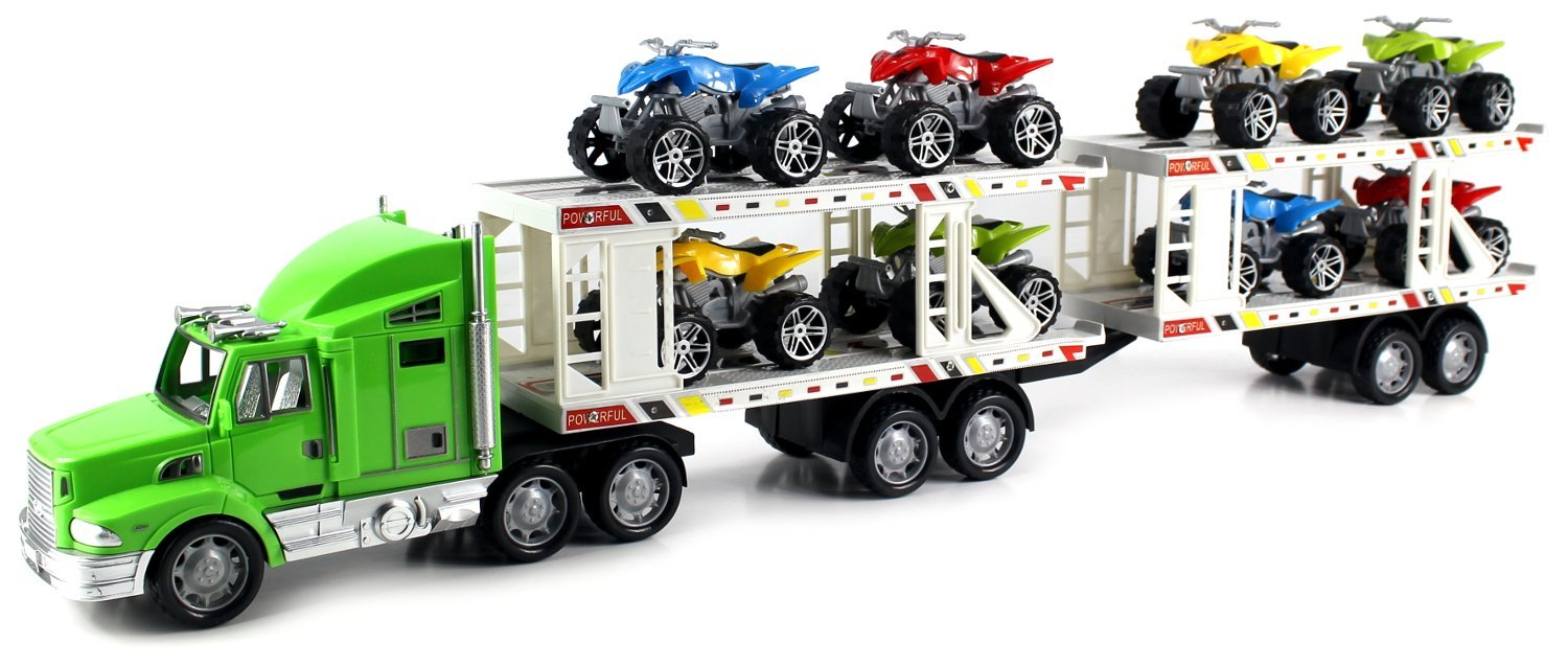 ATV Superior Trailer Children's Kid's Friction Toy Truck Ready To Run w  8 Toy ATVs, No... by Velocity Toys