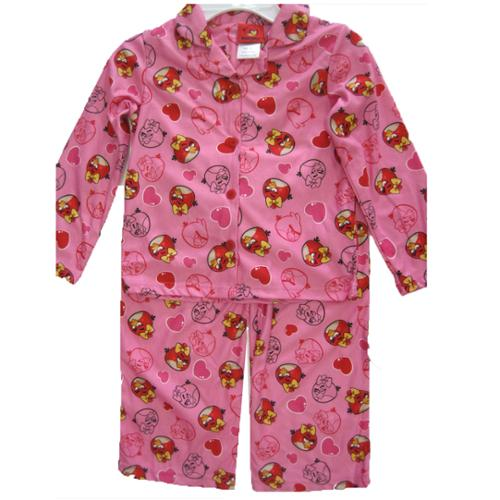 Angry Birds Girls White Pink Character Print 2 Pc Pajama Set 8-10