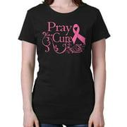 Breast Cancer Awareness Shirt | Pray Cure Think Pink Ribbon Ladies T-Shirt