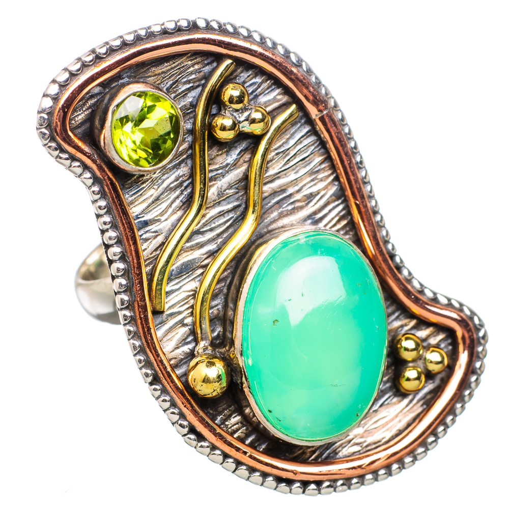Ana Silver Co Large Chrysoprase, Peridot 925 Sterling Silver Ring Size 6 RING826842 by Ana Silver Co.