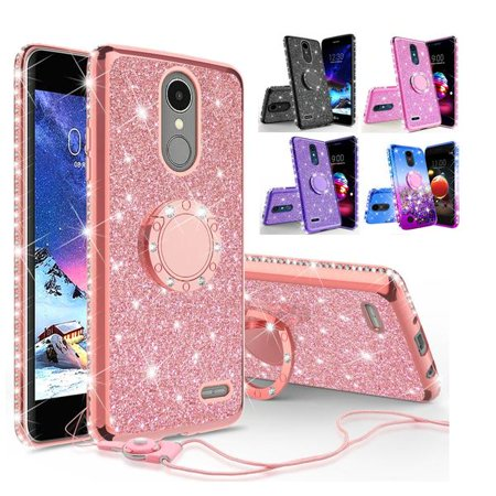 For LG Stylo 4, Stylo 4 Plus, Q Stylus, Stylus 4 Case, Ring Kickstand  Liquid Glitter Rhinestone Bling Protective Cover for Girls Women - Pink