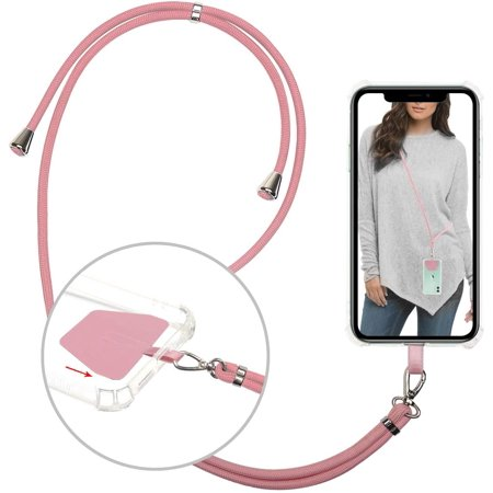 takyu Phone Lanyard, Universal Cell Phone Lanyard with Adjustable Nylon Neck Strap, Phone Tether Safety Strap Compatible with Most Smartphones with Full Coverage Case (Pink) - image 1 de 5