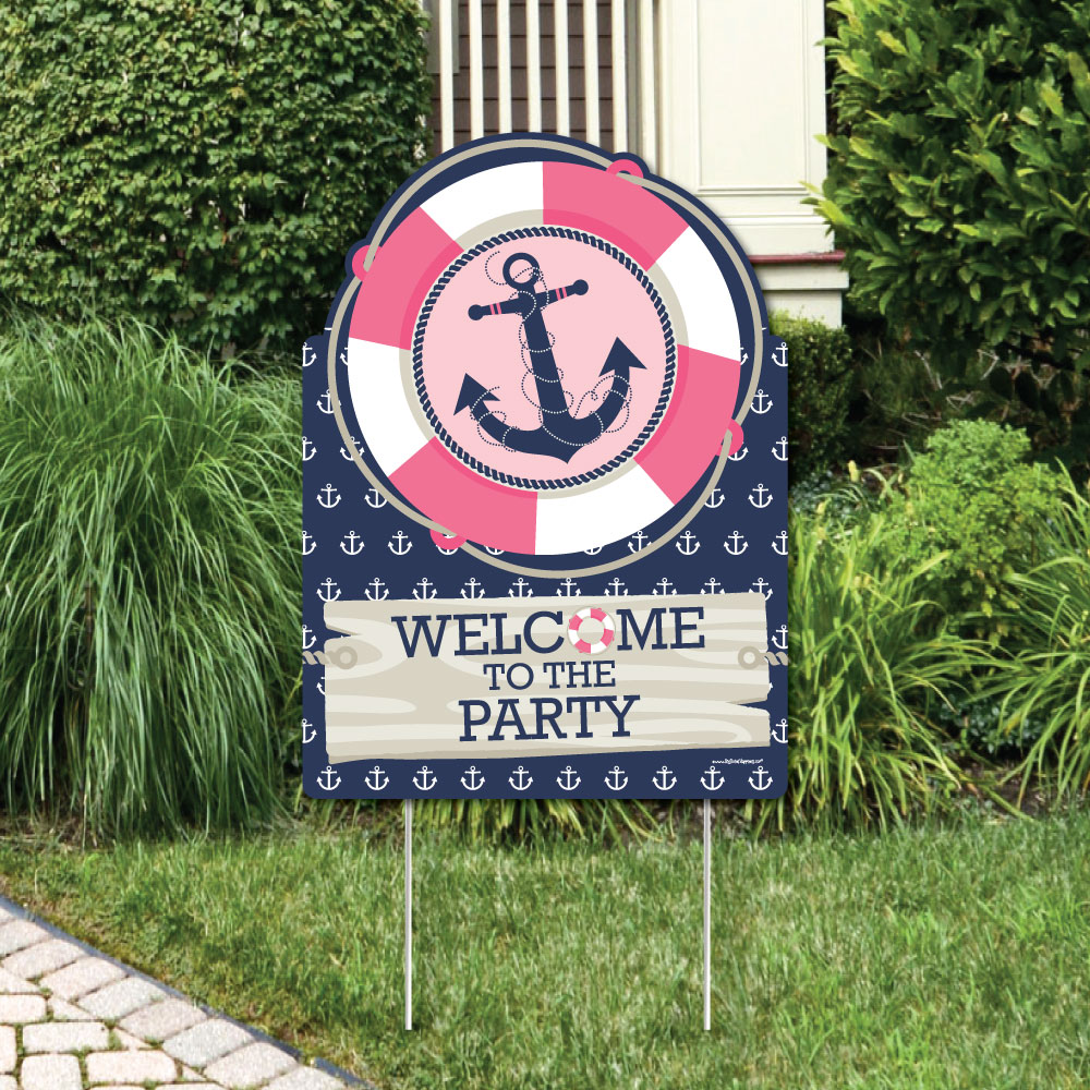Ahoy - Nautical Girl - Party Decorations - Birthday Party or Baby Shower Welcome Yard Sign