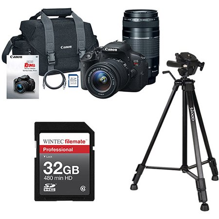 Canon Black EOS Rebel T5i Digital SLR Camera, Includes 18-55mm and 75-300mm Lenses with BONUS Memory Card and Tripod Value