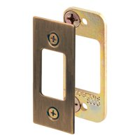 Security Deadbolt Strike, 2-3/4 in., Steel, Antique Brass