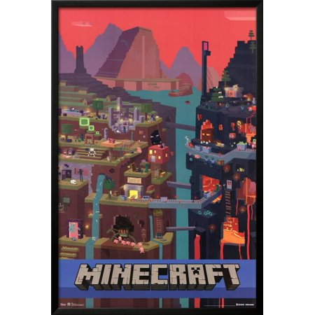 minecraft cube lamina framed poster wall art 24x36 walmart com