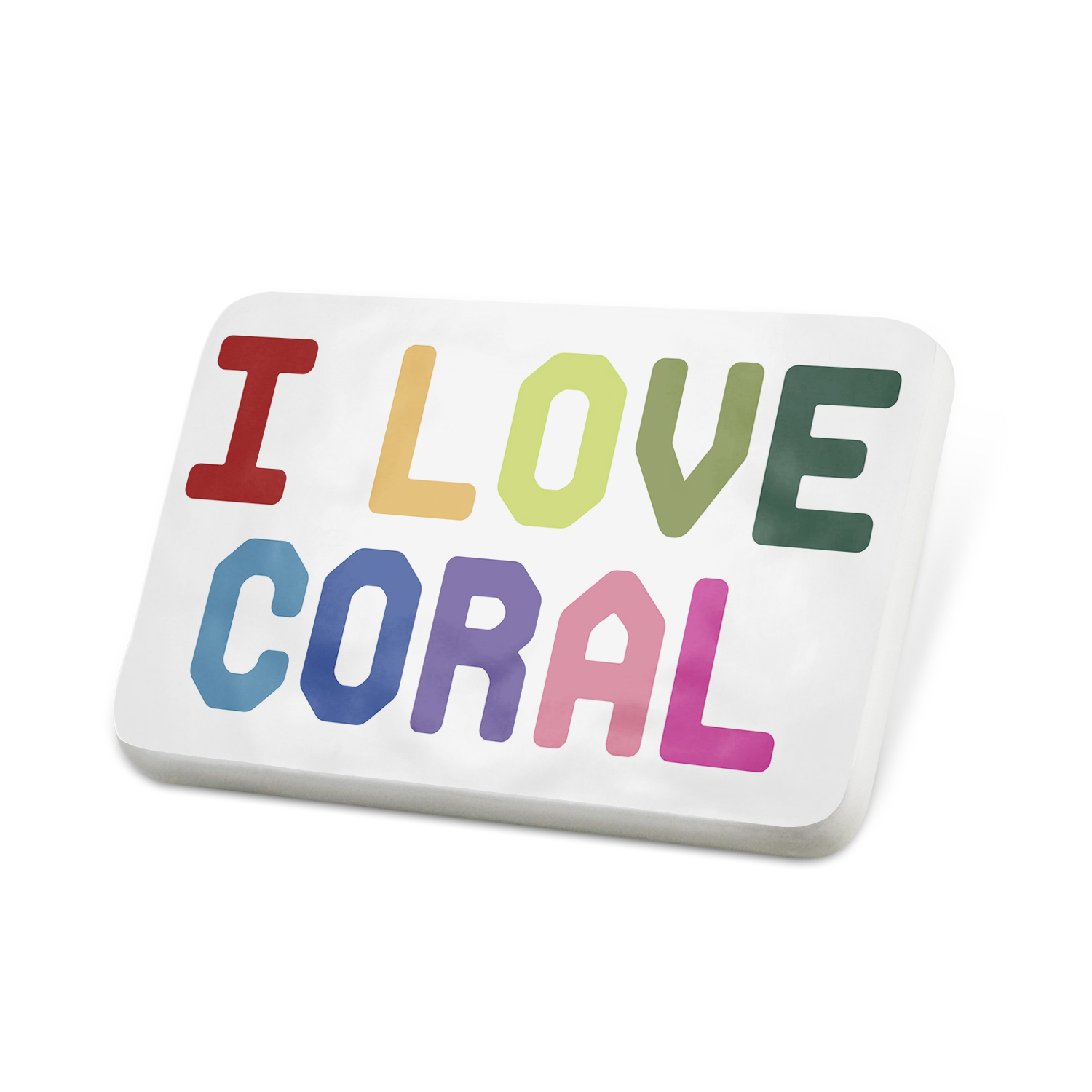Porcelein Pin I Love Coral,Colorful Lapel Badge � NEONBLOND by NEONBLOND
