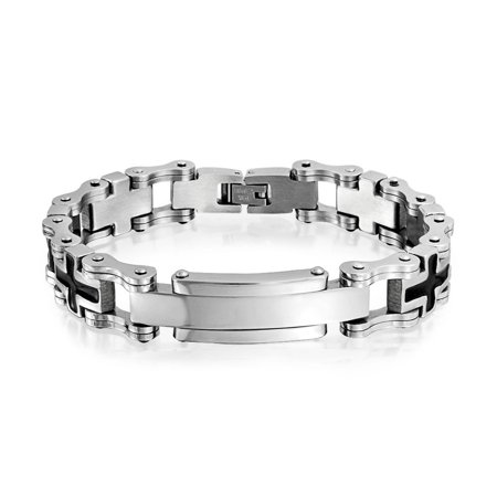adfd9cc93d345 Black Sideways Cross Engravable Identification Name Plate ID Bracelet For  Men Silver Tone Stainless Steel