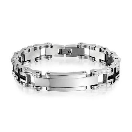 Mens Stainless Steel Two Tone Bracelet (Black Sideways Cross Engravable Identification Name Plate ID Bracelet For Men Silver Tone Stainless Steel)