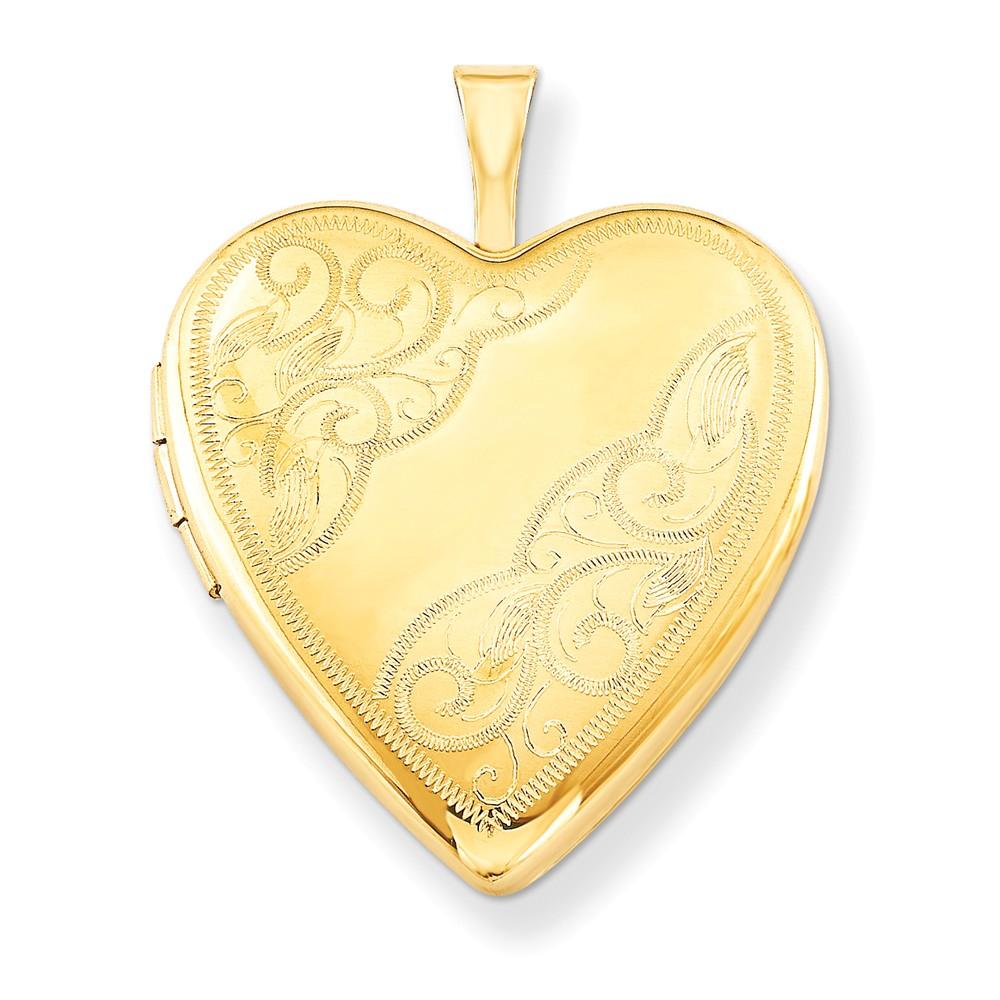 42024 Gold Filled 20mm Side Swirled Heart Locket w/ 18in Chain