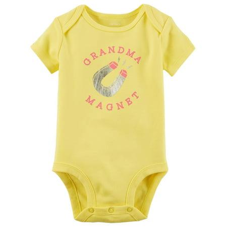 Carter's Baby Girls' Grandma Magnet Collectible Bodysuit - Yellow Onesie Baby
