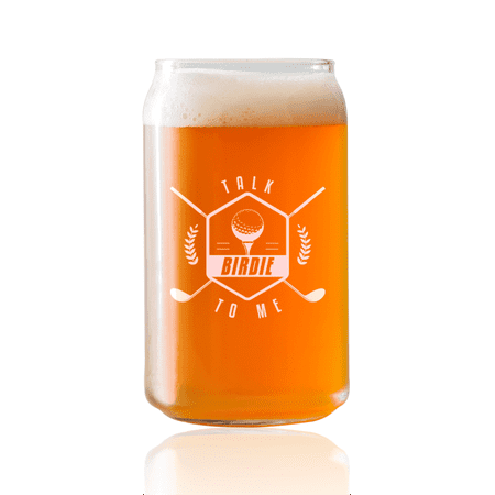 Talk Birdie To Me -  Golf  |16oz Beer Can Glass | Laser etched, dishwasher safe,  Made in the