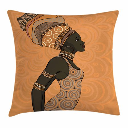 African Woman Throw Pillow Cushion Cover, Indigenous People of Africa Theme Local Woman in Traditional Turban and Dress, Decorative Square Accent Pillow Case, 18 X 18 Inches, Multicolor, by Ambesonne