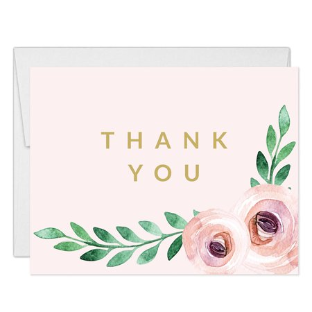 30th Birthday Party Ideas For Her (Pretty Pink Modern Floral Thank You Notecards with Envelopes ( Pack of 25 ) Folded Blank 21st 30th Sweet 16 Adult Child Teenage Girl Birthday Anniversary Baptism Thanks Gracias Excellent)
