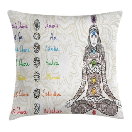 Chakra Decor Throw Pillow Cushion Cover, Sketch Image of Yoga Posed Girl in Peace with Spots Ancient Relax Ritual Decor, Decorative Square Accent Pillow Case, 16 X 16 Inches, Multi, by Ambesonne - Decor Accents