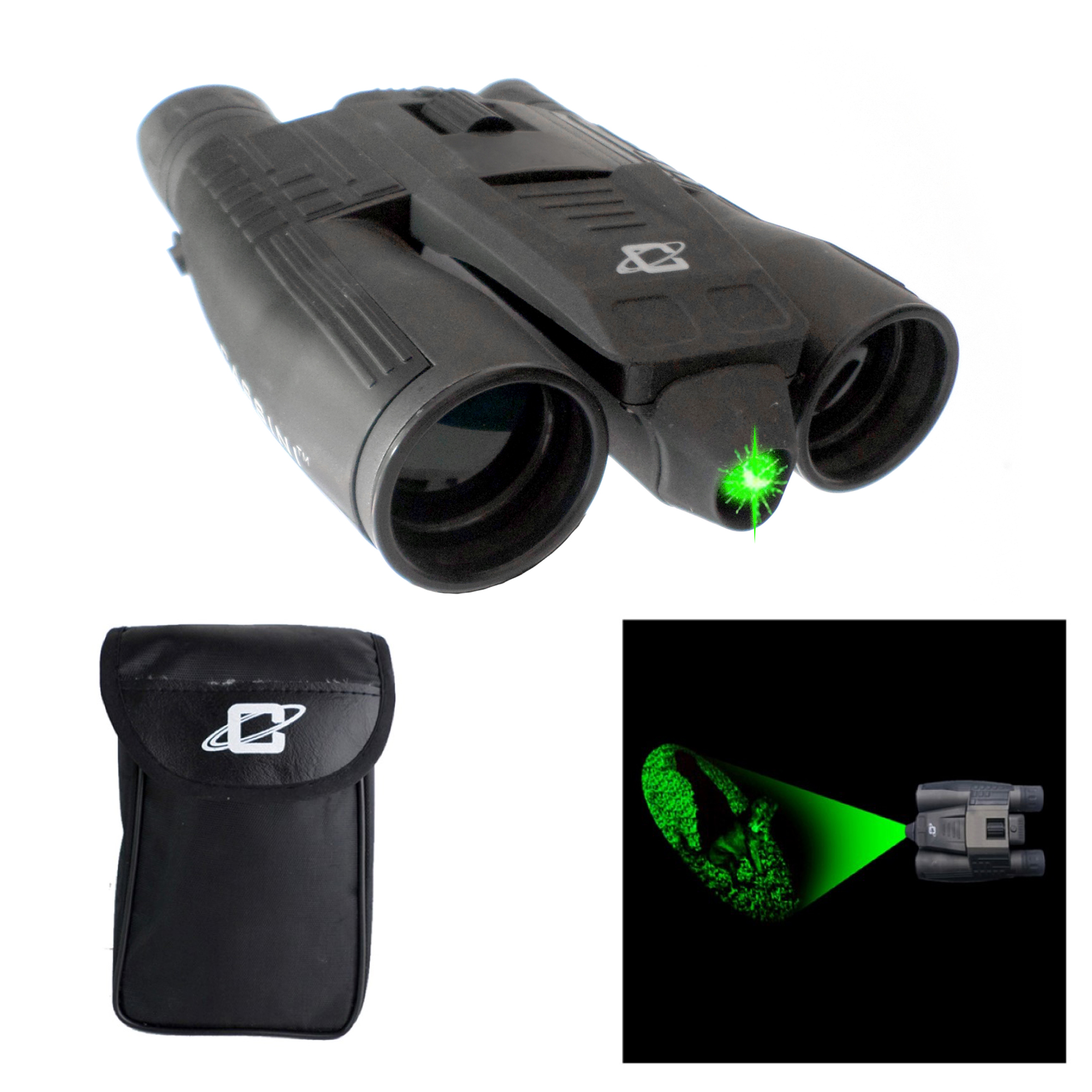 Cassini 12 x 32mm Binocular with K9 Green Laser beam for Day and Night viewing. Tripod Port and Case