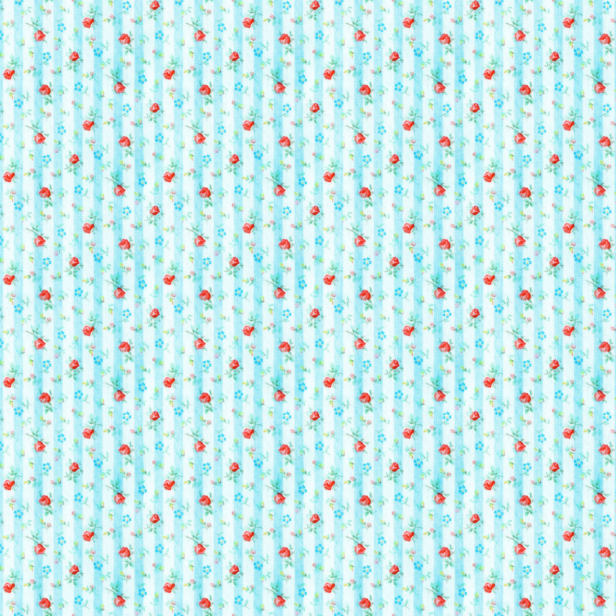 Rose And Hubble Mindy's Stripe Floral Lt Blue Quilting Cotton Fabric By The Yard, 44""