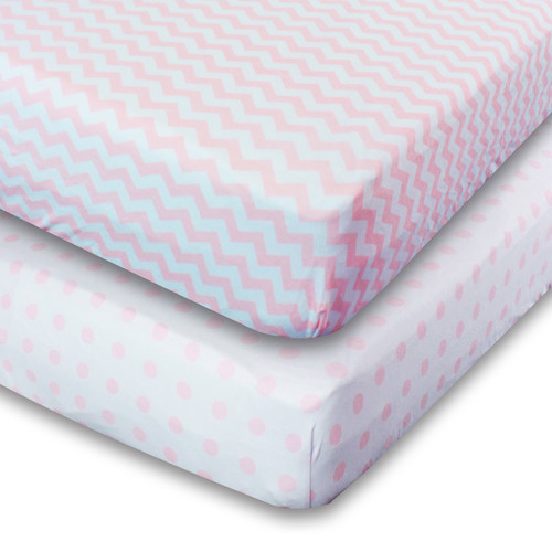 Ziggy Baby Jersey Knit Cotton Fitted Crib Sheets (Set of 2)