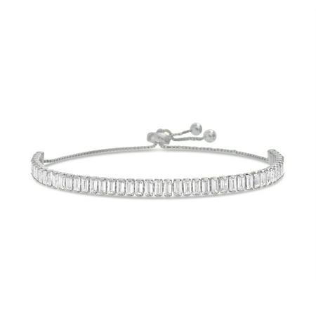 Lesa Michele Women's Cubic Zirconia Baguette Shaped Adjustable Slider Tennis Bracelet in Rhodium Plated Sterling Silver ()