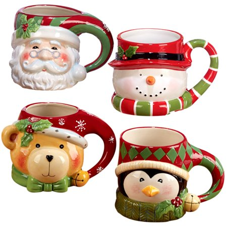 Certified International  Santa Snowman, Penguin, and Bear 3D Figural Mugs (Pack of 4)