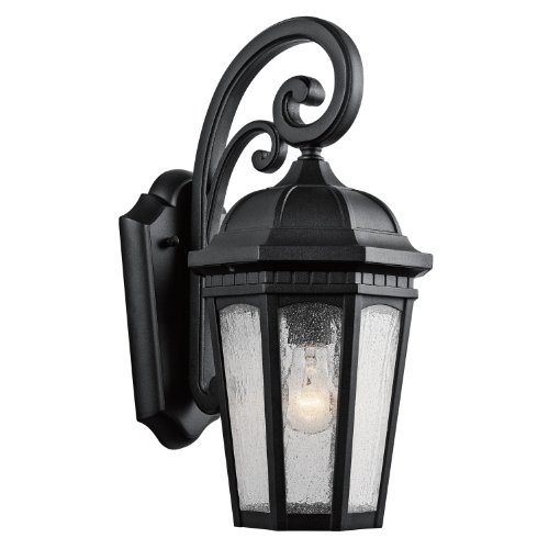 Kichler Lighting 9033BKT Courtyard 1-Light 18-Inch Outdoor Wall Lantern with Etched Seedy Glass, Textured Black Finish