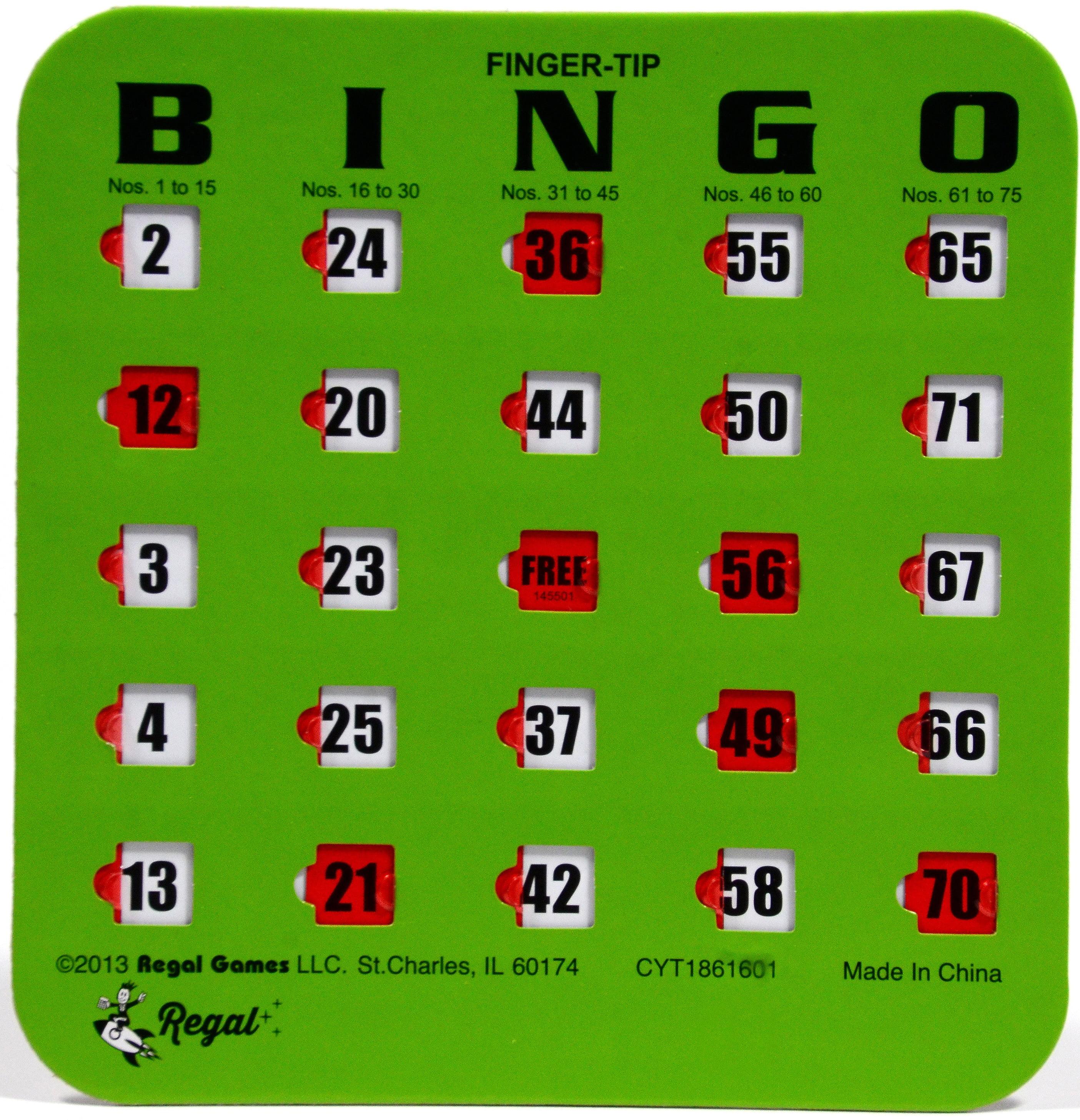 Regal Games 50 Green Fingertip Shutter Slide Bingo Cards by Regal Games