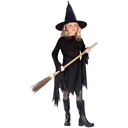 Classic Witchy Witch Black Child Costume Large (12-14), This costume includes a black dress with extra fabric on the sleeves, a black belt and.., By Fun World