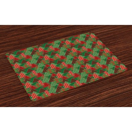 Christmas Placemats Set of 4 Abstract Pines with Swirls Dots Lines Design Patchwork Style Print, Washable Fabric Place Mats for Dining Room Kitchen Table Decor,Dark Green Red Dark Coral, by Ambesonne