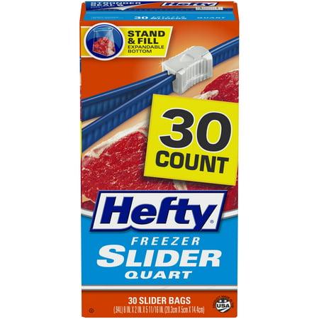 Hefty Slider Freezer Bags, Quart Size, 30 Count
